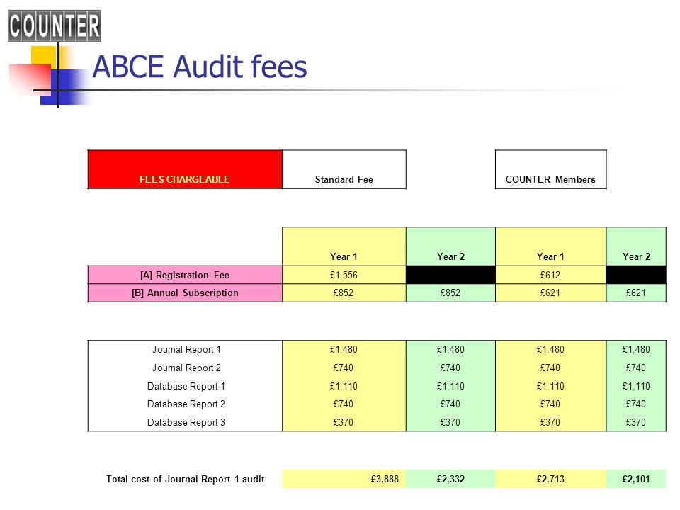 [B] Annual Subscription Total cost of Journal Report 1 audit